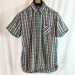 Lucky Brand Short Sleeve Casual Button Up Plaid M
